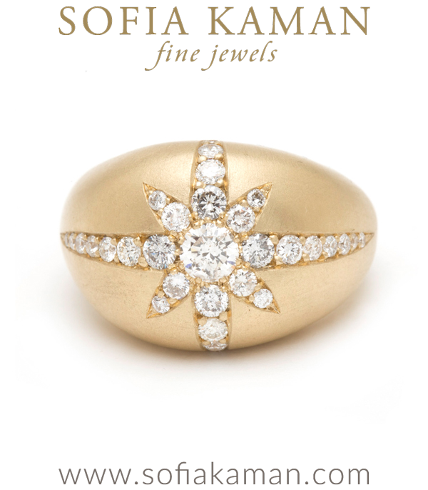 Inspired by the twinkle of a distant star, one of our favorite bold statement rings, this matte gold domed starburst ring with diamonds, shines some light wherever you are! THE cocktail ring everyone will be talking about! (0.99ctw) 14K Yellow Gold.Size 7 designed by Sofia Kaman handmade in Los Angeles
