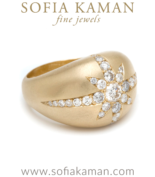 Gold Starburst Dome Cocktail Ring With Pave Diamonds