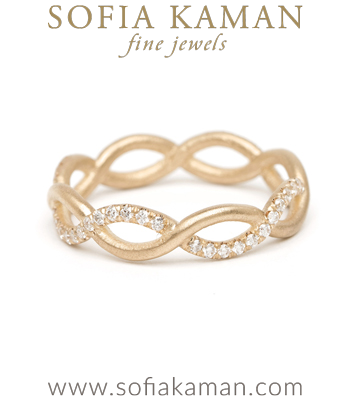 Diamond Infinity Boho Stacking Ring Bohemian Wedding Band designed by Sofia Kaman handmade in Los Angeles