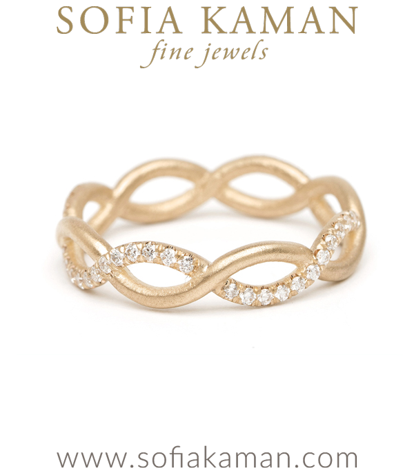 Diamond Infinity Boho Stacking Ring Bohemian Wedding Band designed by Sofia Kaman handmade in Los Angeles using our SKFJ ethical jewelry process.