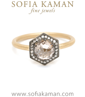 Hexagon Halo Champagne Diamond Bohemian Engagement Ring made in Los Angeles