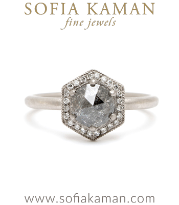 Platinum Hexagon Halo Salt and Pepper Rose Cut Diamond Bohemian Engagement Ring designed by Sofia Kaman handmade in Los Angeles