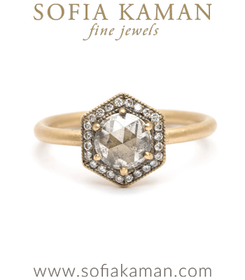18k Matte Gold Hexagon Diamond Halo Salt and Pepper Rose Cut Diamond Engagement Ring made in Los Angeles