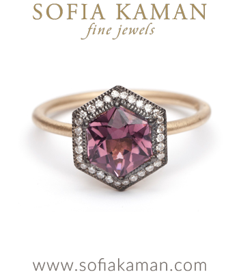Hexagon Halo Red Tourmaline Bohemian Engagement Ring made in Los Angeles