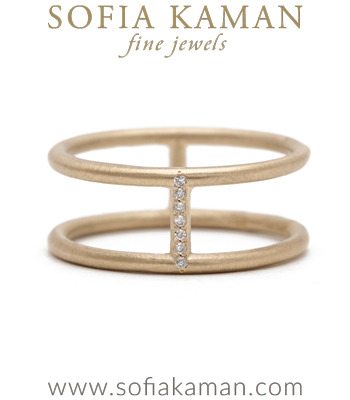 Diamond Double Banded Boho Stacking Ring Bohemian Wedding Band designed by Sofia Kaman handmade in Los Angeles