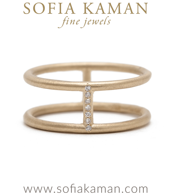 Diamond Double Banded Boho Stacking Ring Bohemian Wedding Band designed by Sofia Kaman handmade in Los Angeles using our SKFJ ethical jewelry process.