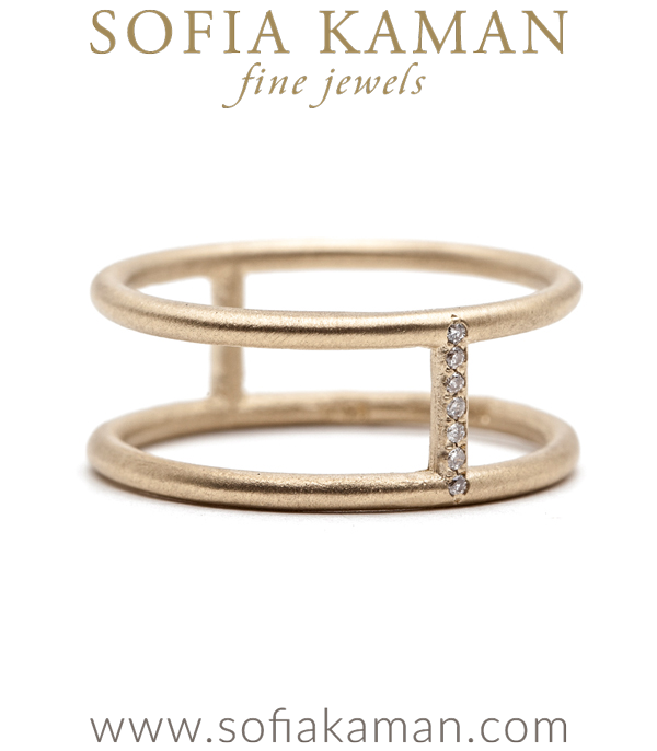 Gold Double Banded Micropave Diamond Stacking Ring