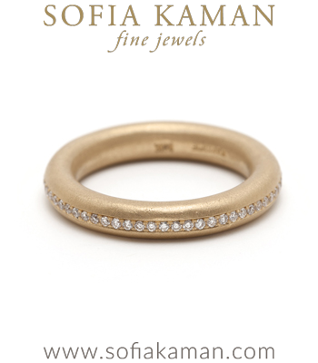 Round Diamond Donut Boho Stacking Ring Bohemian Wedding Band designed by Sofia Kaman handmade in Los Angeles