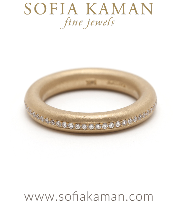 Round Diamond Donut Boho Stacking Ring Bohemian Wedding Band designed by Sofia Kaman handmade in Los Angeles using our SKFJ ethical jewelry process.