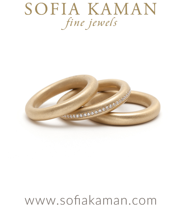 Matte Gold Channel Set Diamond Stacking Donut Band