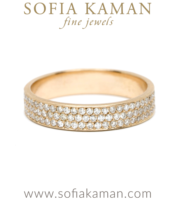 14K Rose Gold Pave Diamond Unique Handmade Wedding Eternity Band on Sale! designed by Sofia Kaman handmade in Los Angeles