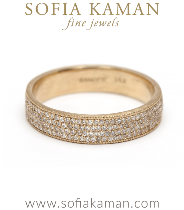 Gold Four Row Diamond Pave Eternity Band
