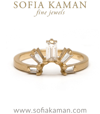 Gold Diamond Boho Stacking Ring Handmade Wedding Band made in Los Angeles
