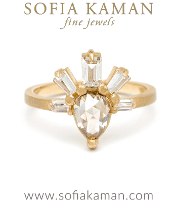Unique Rose Cut Pear Shape Champagne Diamond Boho Engagement Ring made in Los Angeles