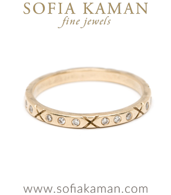 Organic Diamond XO Boho Stacking Ring Natural Bohemian Wedding Band designed by Sofia Kaman handmade in Los Angeles