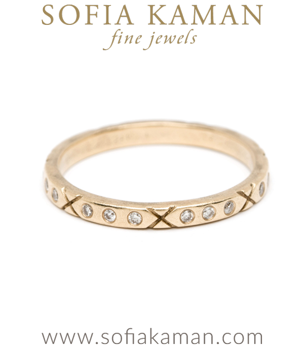 Organic Diamond XO Boho Stacking Ring Natural Bohemian Wedding Band designed by Sofia Kaman handmade in Los Angeles using our SKFJ ethical jewelry process.