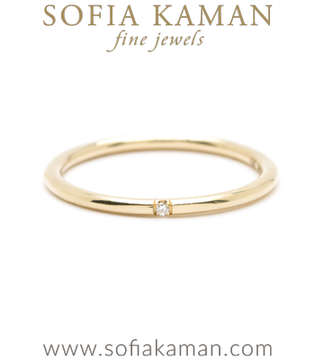 14K Gold Wire Band Diamond Accent Classic Bohemian Stacking Band designed by Sofia Kaman handmade in Los Angeles