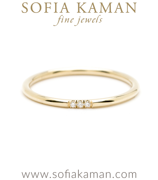 14K Gold Wire Band Triple Diamond Bohemian Stacking Band  designed by Sofia Kaman handmade in Los Angeles