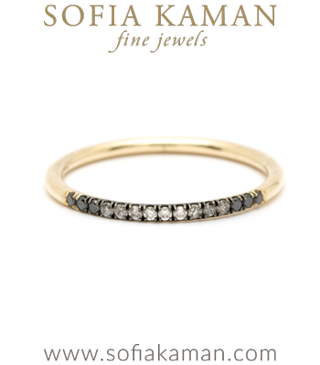 Autumn Edit 14K Gold Wire Band Black Gray White Ombre Hud Diamond Classic Bohemian Stacking Band designed by Sofia Kaman handmade in Los Angeles