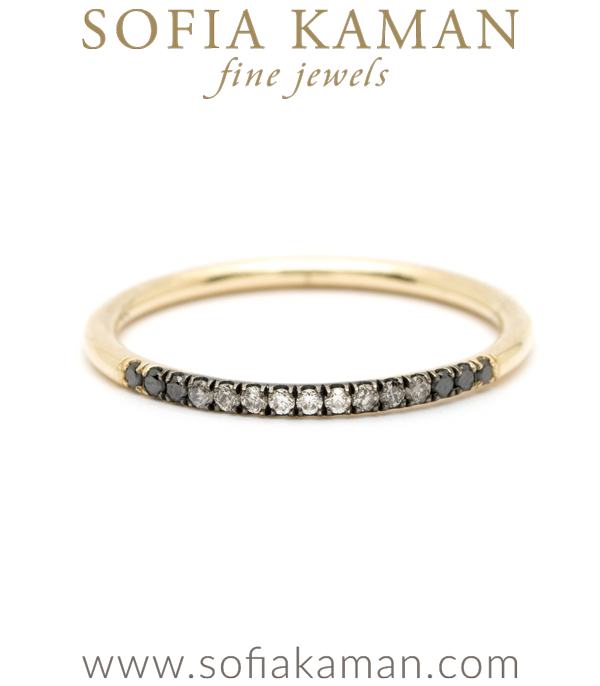 14K Gold Wire Band Black Gray White Ombre Hud Diamond Classic Bohemian Stacking Band designed by Sofia Kaman handmade in Los Angeles using our SKFJ ethical jewelry process.