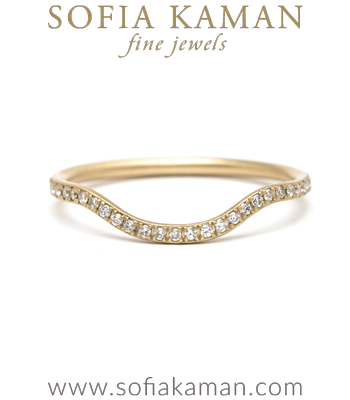 Gold Engagement Rings Boho Curved Pave Diamond Stacking Wedding Band designed by Sofia Kaman handmade in Los Angeles