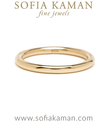 Smooth Round Gold Wedding Band for Unique Engagement Rings designed by Sofia Kaman handmade in Los Angeles