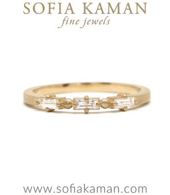 Gold Engagement Rings 14K Gold Baguette Diamond Wedding Band for Engagement Rings designed by Sofia Kaman handmade in Los Angeles