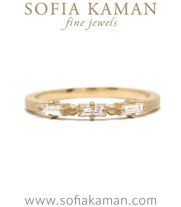 14K Gold Baguette Diamond Wedding Band for Engagement Rings designed by Sofia Kaman handmade in Los Angeles using our SKFJ ethical jewelry process.