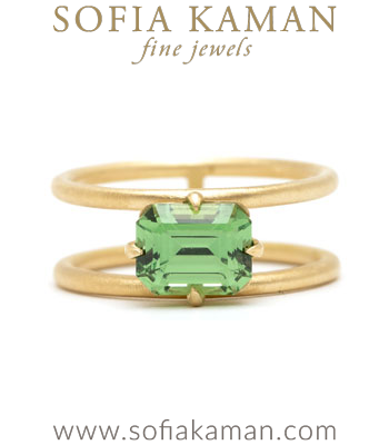 Ethically Mined Green Grossular Kiwi Garnet Engagement Ring designed by Sofia Kaman handmade in Los Angeles