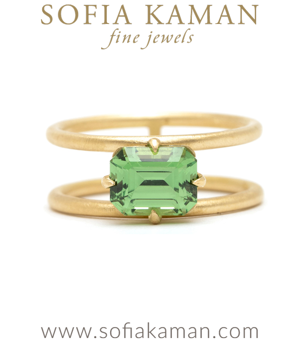 Ethically Mined Green Grossular Kiwi Garnet Engagement Ring designed by Sofia Kaman handmade in Los Angeles using our SKFJ ethical jewelry process.
