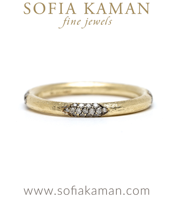 Stone Scratched Wedding Band Perfect for a One of a Kind Engagement Ring designed by Sofia Kaman handmade in Los Angeles using our SKFJ ethical jewelry process.