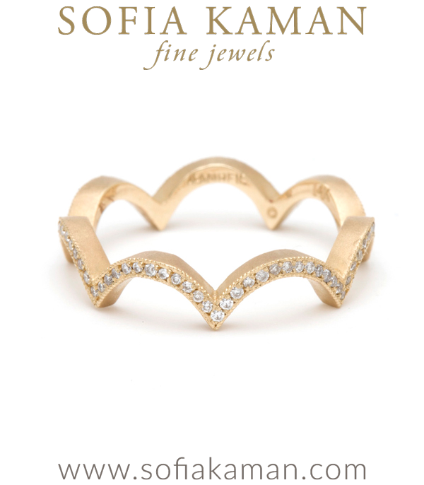 Gold Scallop Cloud Pave Diamond Eternity Stacking Ring Bohemian Wedding Band designed by Sofia Kaman handmade in Los Angeles using our SKFJ ethical jewelry process.