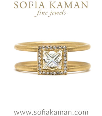 Princess Cut Diamond Bohemian Engagement Ring designed by Sofia Kaman handmade in Los Angeles