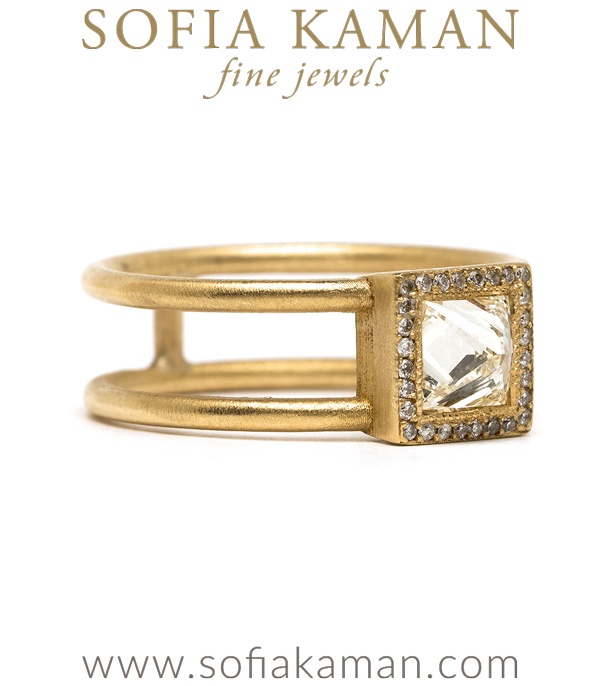 14k Matte Gold Diamond Ring