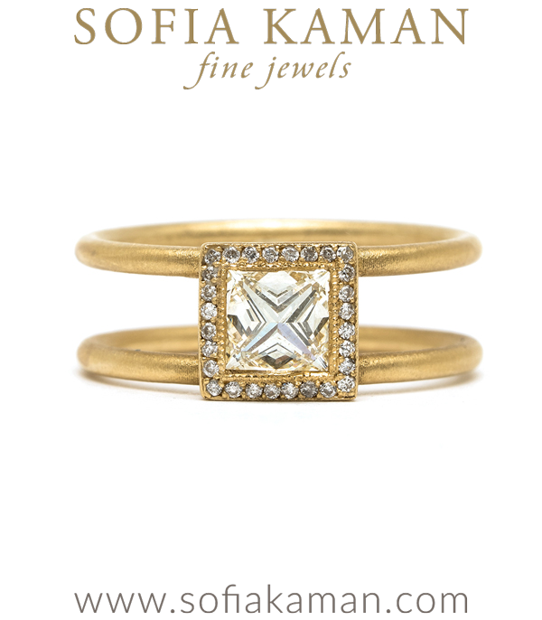 Princess Cut Diamond Bohemian Engagement Ring designed by Sofia Kaman handmade in Los Angeles using our SKFJ ethical jewelry process.