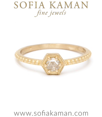 Gold Engagement Rings Hexagon Rose Cut Diamond Bohemian Handmade Engagement Ring designed by Sofia Kaman handmade in Los Angeles