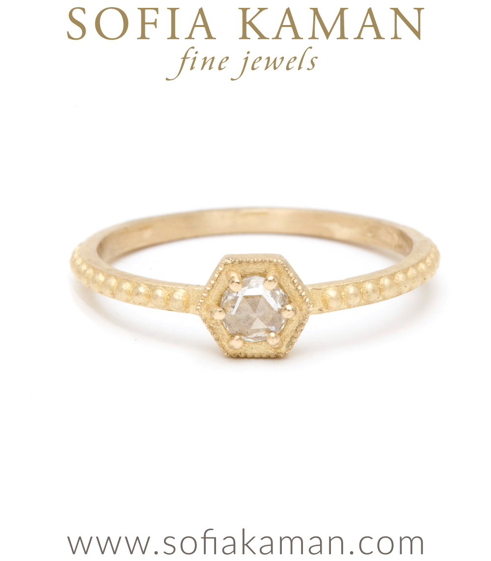 Aria Small Hexagon Ring With Rose Cut Diamond East