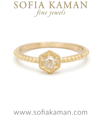 Hexagon Rose Cut Diamond Bohemian Engagement Ring designed by Sofia Kaman handmade in Los Angeles