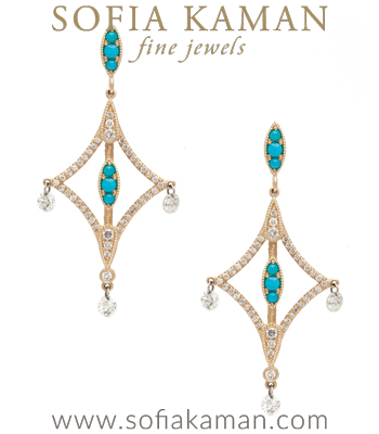 Pixie Earrings with Turquoise and Diamonds made in Los Angeles