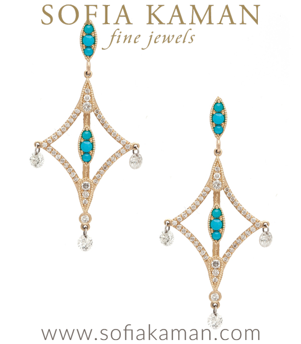 Pure bohemian elegance! Audacious and hypnotizing, this stunning pair of open-work earrings boasts a unique look and unforgettable appeal. Crafted in 14K gold, these enchanting earrings are pave set with diamonds (approx. 1.02 ctw) and bold turquoise accents. Our favorite feature- the tiered dangling drilled brilliant cut diamonds dancing off the ends. Art Nouveau inspiration meets a modern style… A dainty, yet powerful statement piece guaranteed to catch the eye of many admirers! made in Los Angeles