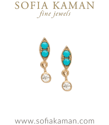 14K Matte Gold Leaf Shaped Turquoise Accent Diamond Pod Drop Boho Everyday Earrings designed by Sofia Kaman handmade in Los Angeles