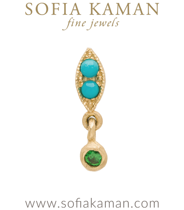 Nature Inspired 14k Gold Turquoise Single Leaf Dangle Emerald Bohemian Single Earring designed by Sofia Kaman handmade in Los Angeles using our SKFJ ethical jewelry process.