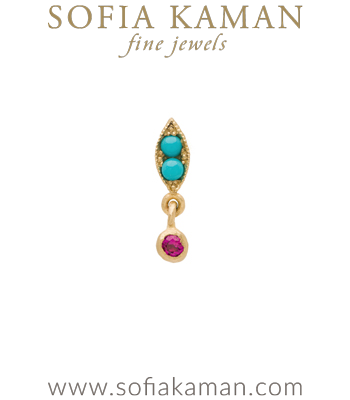 Nature Inspired 14k Gold Turquoise Single Leaf Dangle Pink Sapphire Boho Single Earring designed by Sofia Kaman handmade in Los Angeles