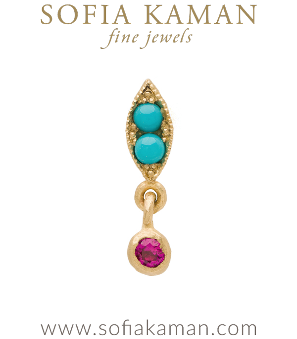 Nature Inspired 14k Gold Turquoise Single Leaf Dangle Pink Sapphire Boho Single Earring designed by Sofia Kaman handmade in Los Angeles using our SKFJ ethical jewelry process.