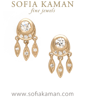 Bohemian Bridal Wedding Diamond Earrings designed by Sofia Kaman handmade in Los Angeles