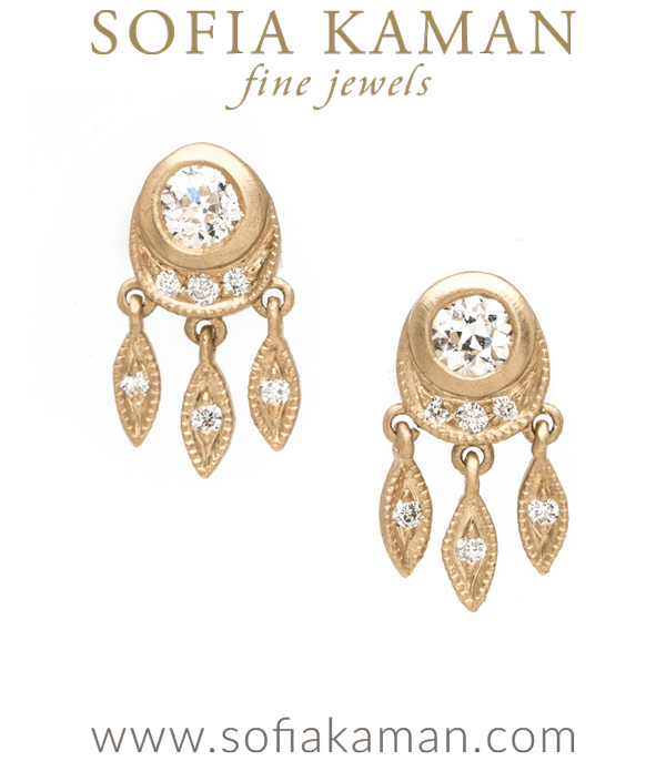 Bohemian Bridal Wedding Diamond Earrings designed by Sofia Kaman handmade in Los Angeles using our SKFJ ethical jewelry process.
