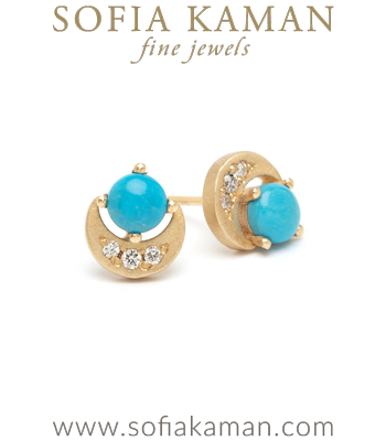 14K Gold Turquoise Diamond Crescent Boho Earrings perfect for Unique Engagement Rings designed by Sofia Kaman handmade in Los Angeles