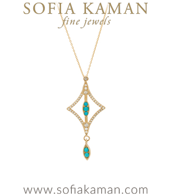 Gold Diamond Turquoise Boho Bridal Necklace goes with most Engagement Ring Styles designed by Sofia Kaman handmade in Los Angeles