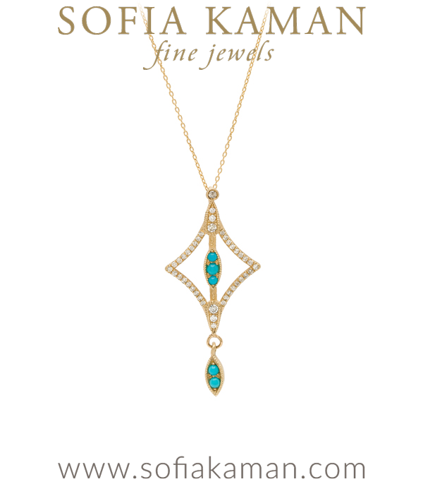 Gold Diamond Turquoise Boho Bridal Necklace goes with most Engagement Ring Styles designed by Sofia Kaman handmade in Los Angeles using our SKFJ ethical jewelry process.