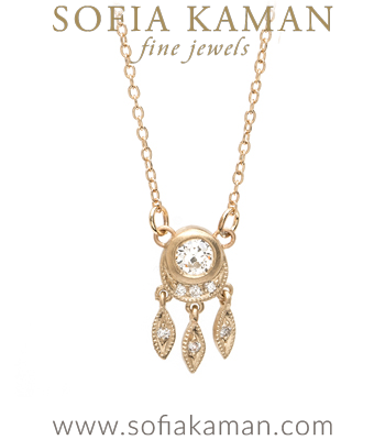 Bohemian Inspired Gold and Diamond Necklace with Old European cut diamond designed by Sofia Kaman handmade in Los Angeles